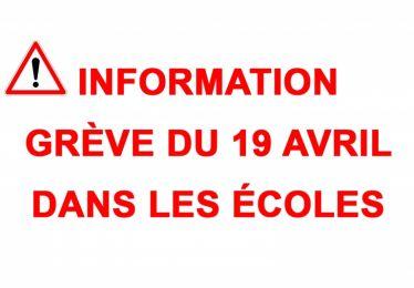 Info grève du 19 avril dans les écoles