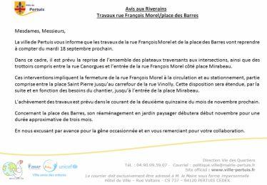 Reprise des travaux de la rue François Morel