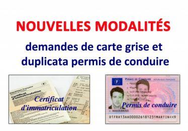 Nouvelles modalités : demandes carte grise et duplicata permis de conduire