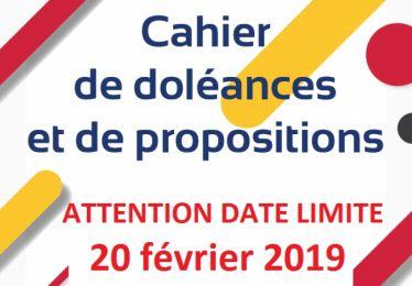 Date limite pour les inscriptions dans le cahier de doléances 20 février 11h