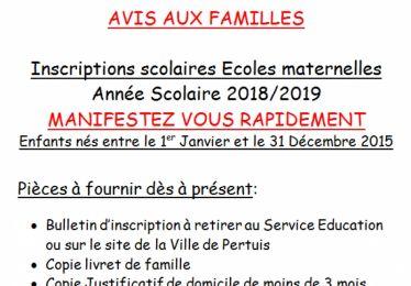 Inscription école maternelle 2018-2019 pour les enfants nés en 2015