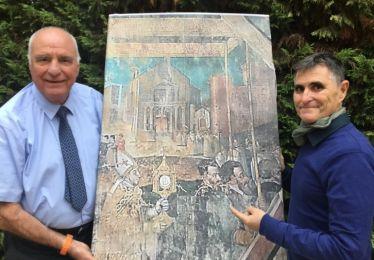 Une belle découverte au dos d'un des tableaux de l'église St Nicolas