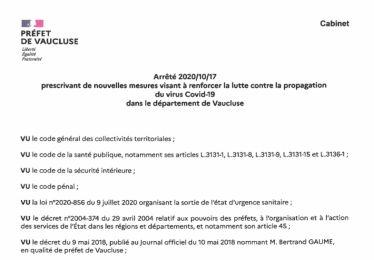 Etat d'urgence sanitaire - Nouvelles mesures en Vaucluse