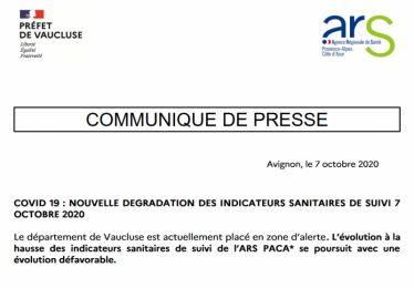 Communiqué de presse ARS/Préfecture 7 octobre 2020