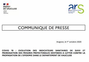 Arrêté préfectoral 1/10/20 - renforcement des mesures sanitaires en Vaucluse