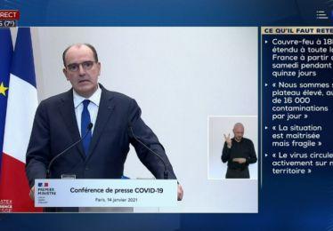 14-1-2021 Conférence de presse du 1er ministre - Couvre-feu national dès 18h à partir de samedi 16 janvier