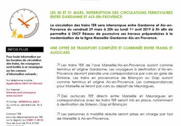 Interruption des circulations ferroviaires entre Gardanne et Aix-en-Provence du 29 mars 20h au 1er avril 5h
