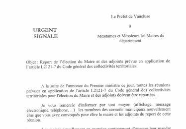 Report de l'installation du Conseil Municipal