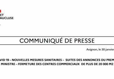 30-1-2021-Les nouvelles mesures sanitaires annoncées par le Gouvernement
