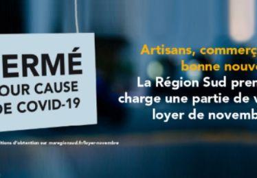 Participation de la Région pour les loyers de novembre 2020 des commerçants et artisans