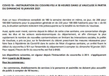 Instauration du couvre-feu dès 18h dans le Vaucluse à partir de dimanche 10 janvier 2021
